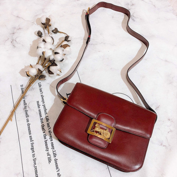 Celine Burgundy Carriage Shoulder Box Bag - 00694