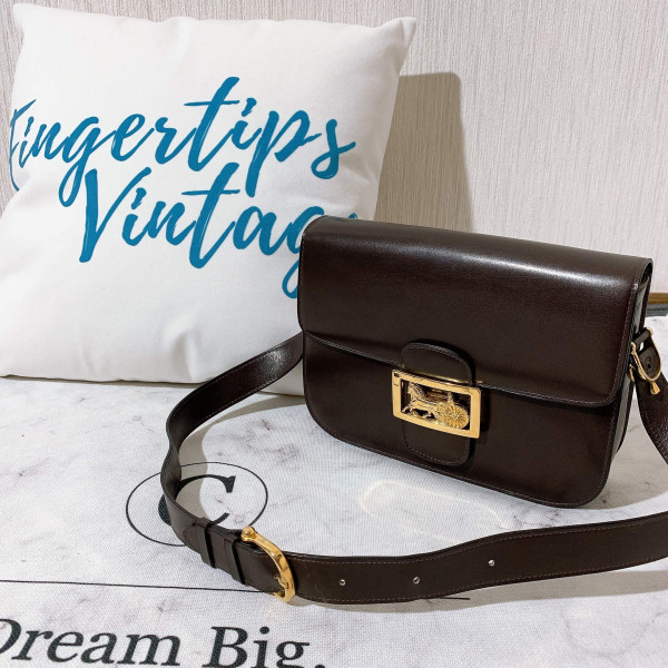 Celine Horse Carriage Brown Shoulder Box Bag - 00710