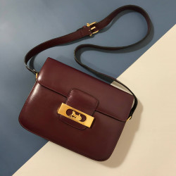 Celine Burgundy Carriage Shoulder Box Bag - 00865
