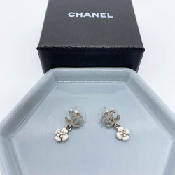 Chanel CC Flower Drop Earrings - 00478